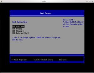 Menu de boot de l'UEFI (coreboot + tianocore => ovmf)