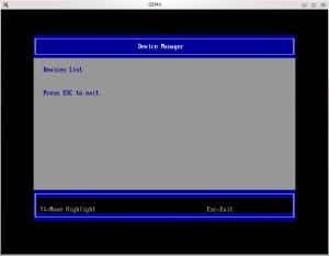 Menu du matériel de l'UEFI (coreboot + tianocore => ovmf)
