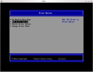 Menu de drivers de l'UEFI (coreboot + tianocore => ovmf)
