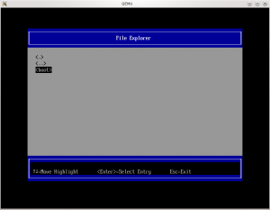 Explorateur de fichiers de l'UEFI (coreboot + tianocore => ovmf)