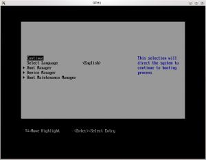 Menu principal de l'UEFI (coreboot + tianocore => ovmf)